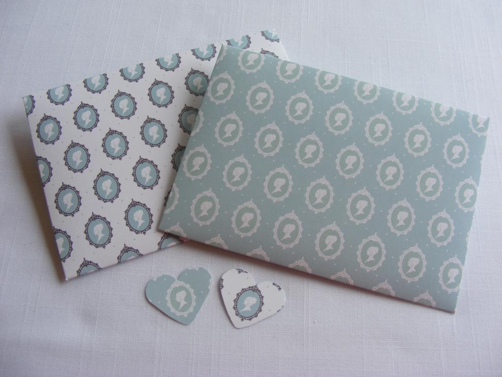 Handmade Envelopes in Turquoise with Regency Brighton Style Cameos and Heart Shaped Fastening
