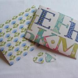 Handmade Envelopes Blue and Green Alphabet and Flowers Design with Matching Heart Shaped Fastening